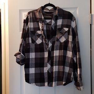 EUC Machine Plaid Flannel Button Down Shirt